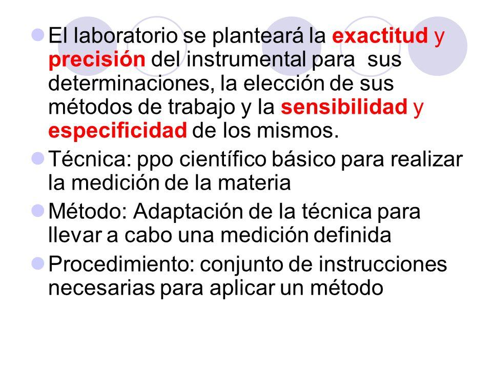 El laboratorio se planteará la exactitud y precisión del instrumental para sus determinaciones, la elección de sus métodos de trabajo y la sensibilidad y especificidad de los mismos.