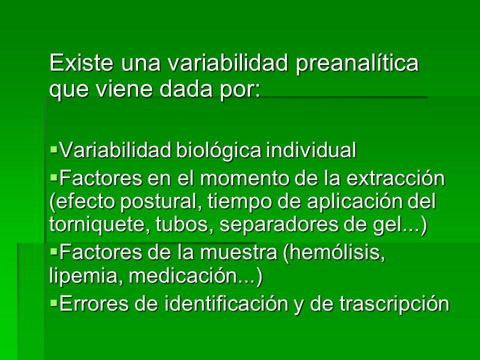 Existe una variabilidad preanalítica que viene dada por: