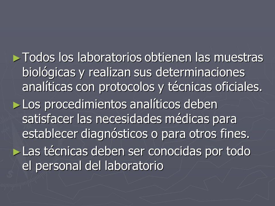 Todos los laboratorios obtienen las muestras biológicas y realizan sus determinaciones analíticas con protocolos y técnicas oficiales.