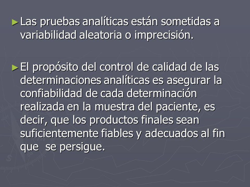 Las pruebas analíticas están sometidas a variabilidad aleatoria o imprecisión.