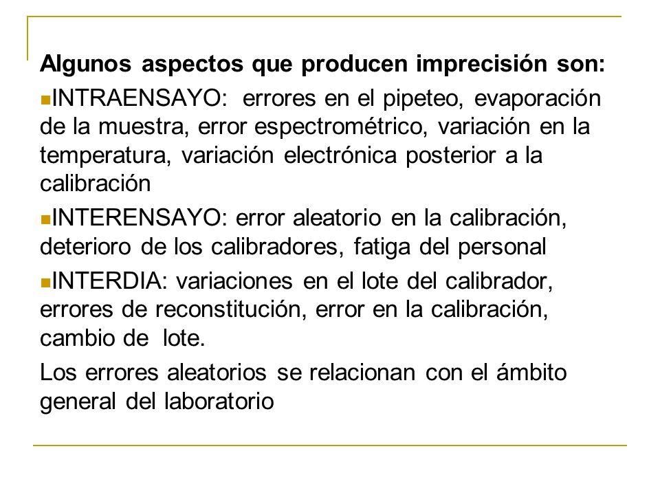 Algunos aspectos que producen imprecisión son: