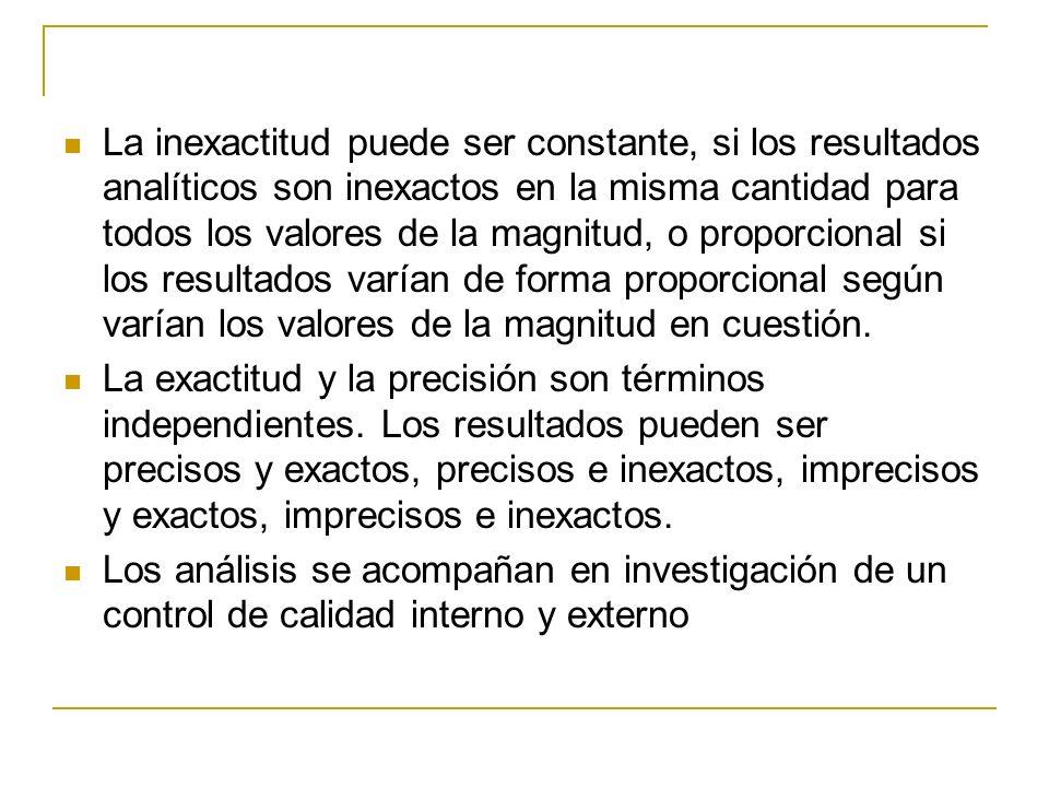 La inexactitud puede ser constante, si los resultados analíticos son inexactos en la misma cantidad para todos los valores de la magnitud, o proporcional si los resultados varían de forma proporcional según varían los valores de la magnitud en cuestión.