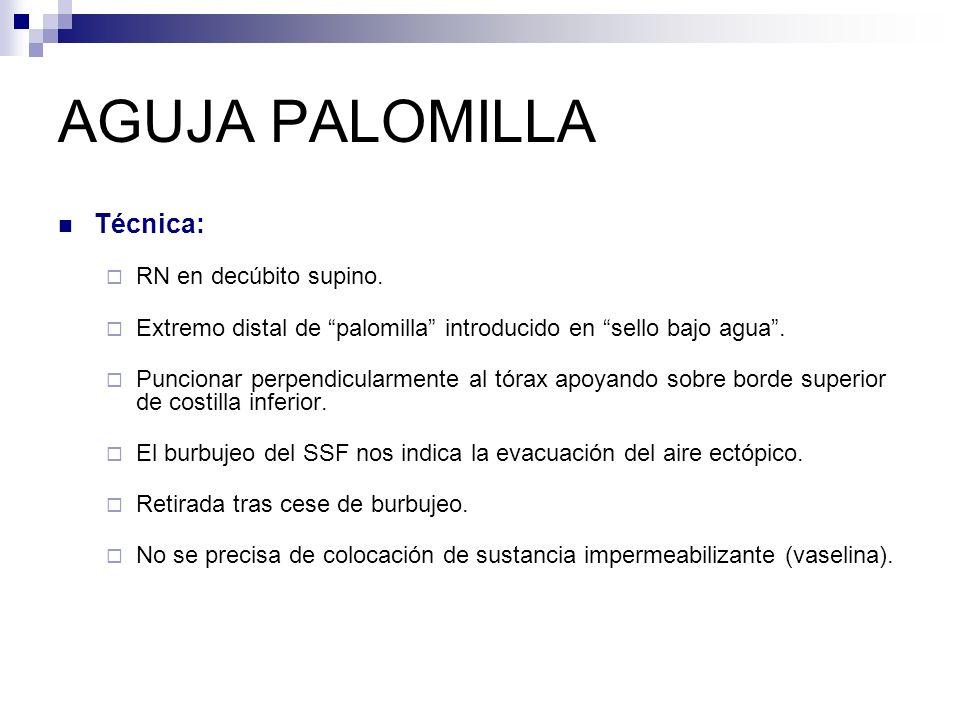 AGUJA PALOMILLA Técnica: RN en decúbito supino.