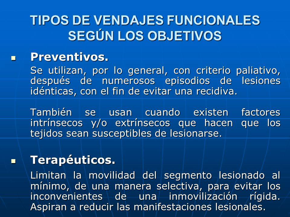 TIPOS DE VENDAJES FUNCIONALES SEGÚN LOS OBJETIVOS