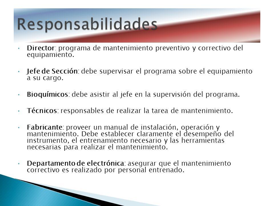 Responsabilidades Director: programa de mantenimiento preventivo y correctivo del equipamiento.