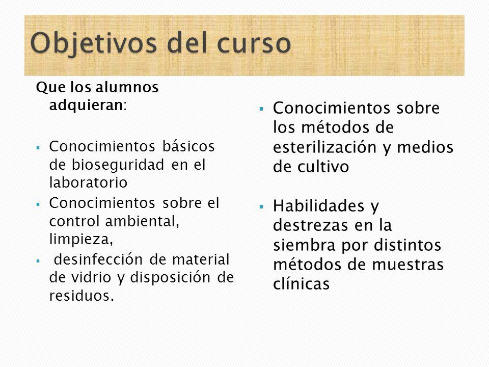 Objetivos del curso Que los alumnos adquieran: Conocimientos básicos de bioseguridad en el laboratorio.