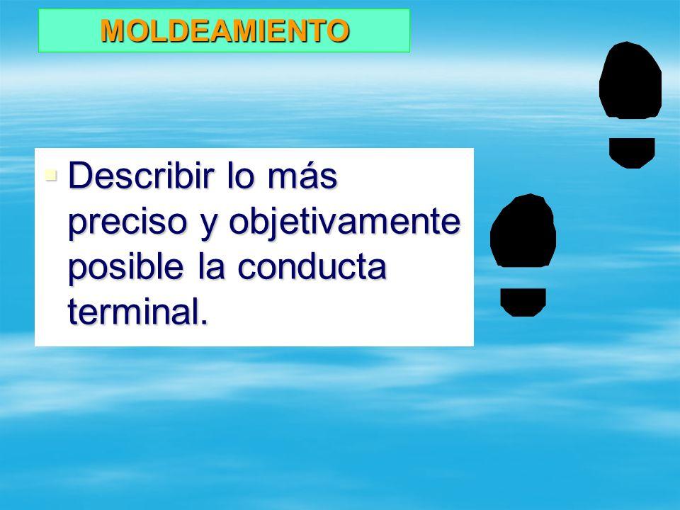 Describir lo más preciso y objetivamente posible la conducta terminal.