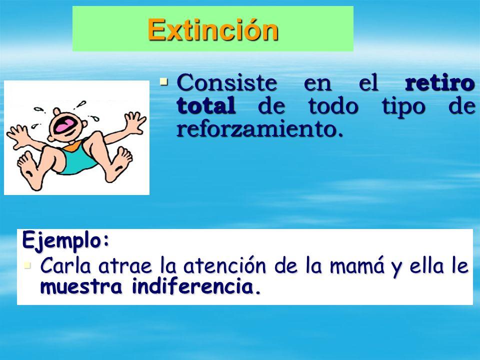 Extinción Consiste en el retiro total de todo tipo de reforzamiento.