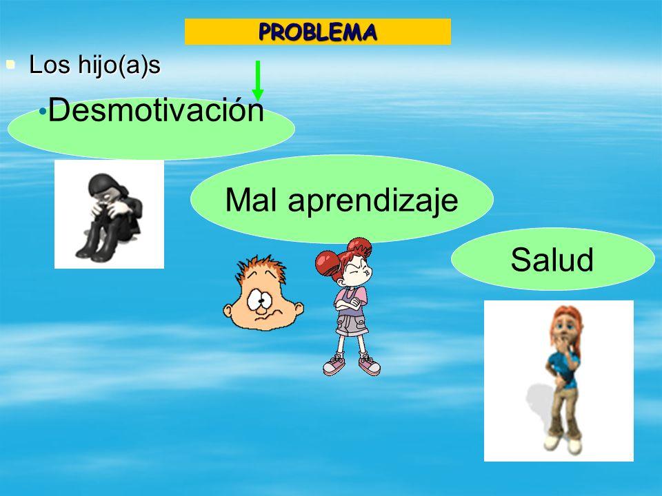 PROBLEMA Los hijo(a)s Desmotivación Mal aprendizaje Salud