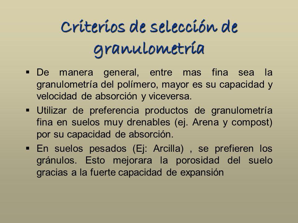 Criterios de selección de granulometría