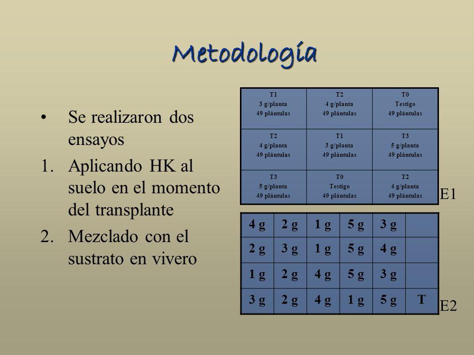 Metodología Se realizaron dos ensayos