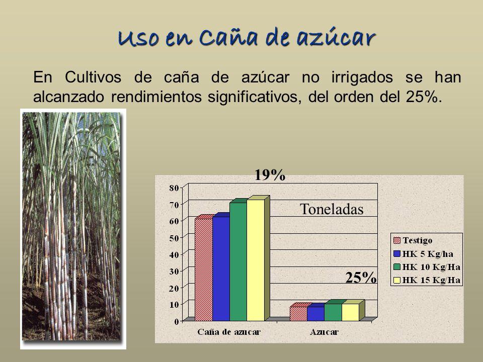 Uso en Caña de azúcar En Cultivos de caña de azúcar no irrigados se han alcanzado rendimientos significativos, del orden del 25%.