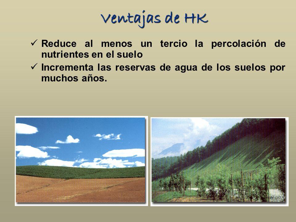 Ventajas de HK Reduce al menos un tercio la percolación de nutrientes en el suelo.