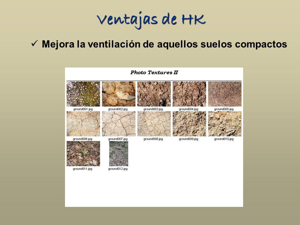 Ventajas de HK Mejora la ventilación de aquellos suelos compactos