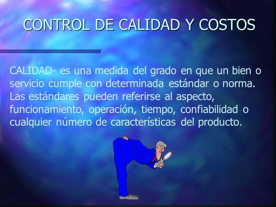 CONTROL DE CALIDAD Y COSTOS