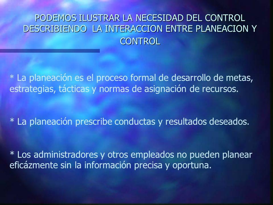 PODEMOS ILUSTRAR LA NECESIDAD DEL CONTROL DESCRIBIENDO LA INTERACCION ENTRE PLANEACION Y CONTROL