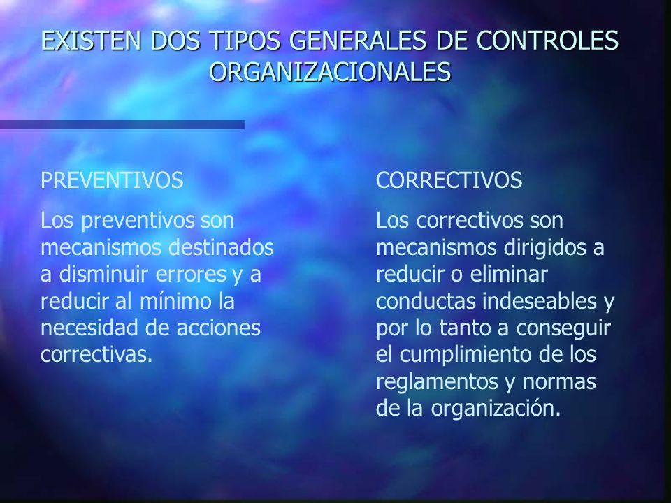 EXISTEN DOS TIPOS GENERALES DE CONTROLES ORGANIZACIONALES