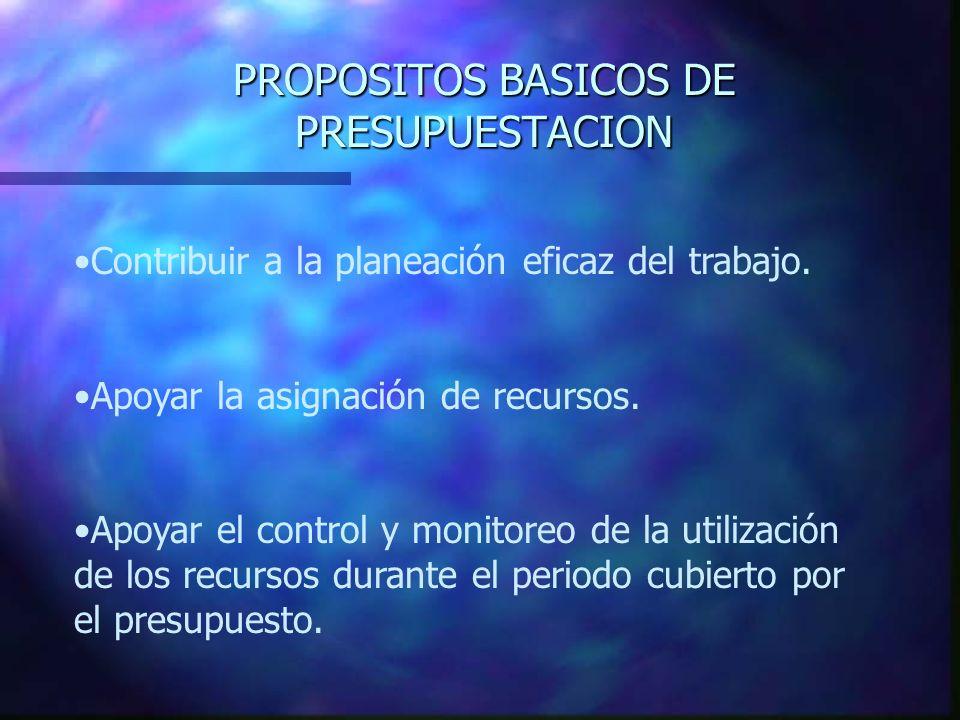 PROPOSITOS BASICOS DE PRESUPUESTACION