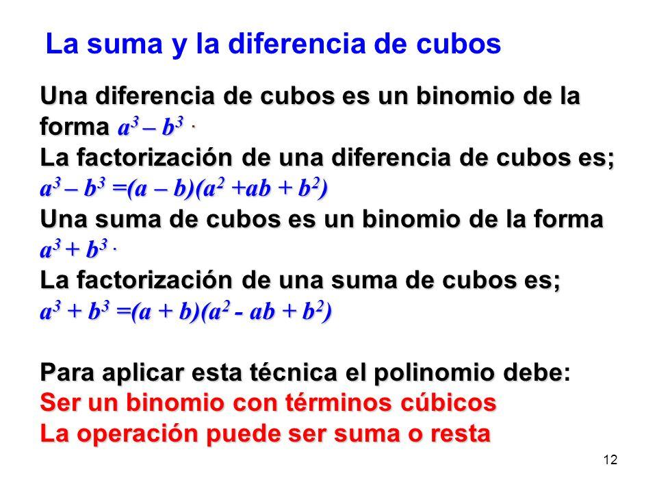 La suma y la diferencia de cubos