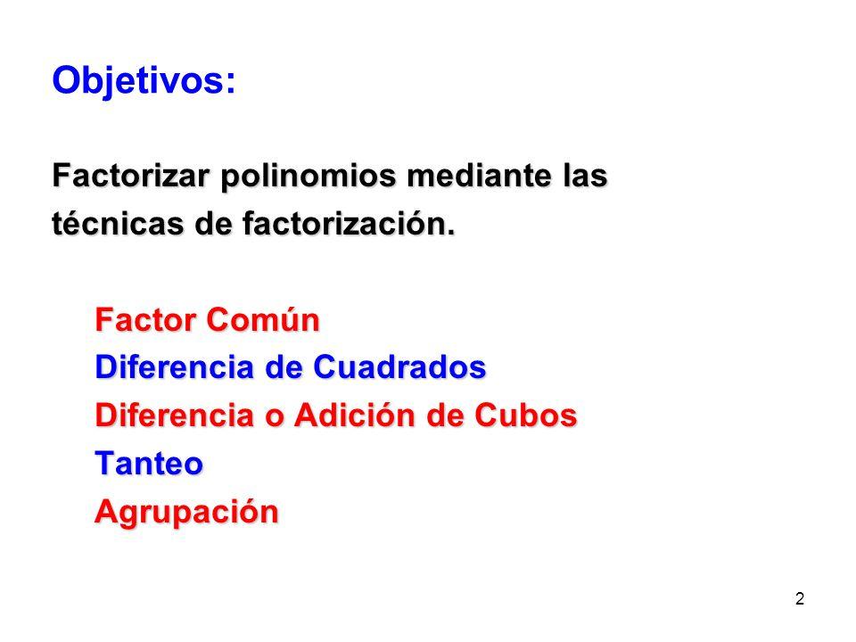 Objetivos: Factorizar polinomios mediante las