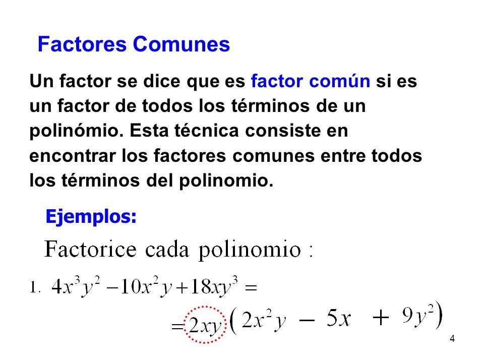 Factores Comunes Un factor se dice que es factor común si es