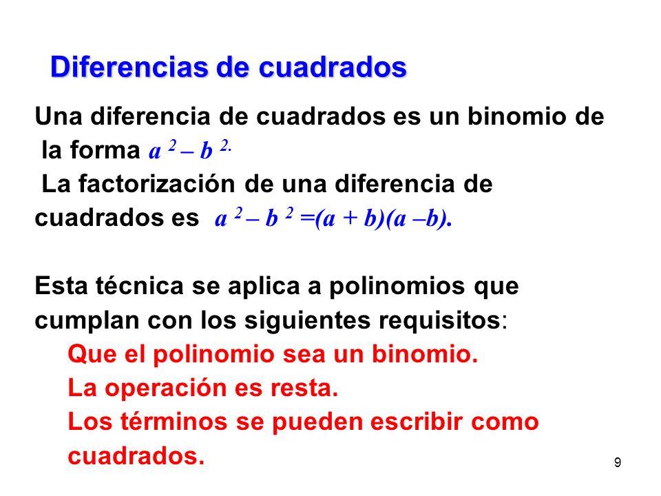 Diferencias de cuadrados