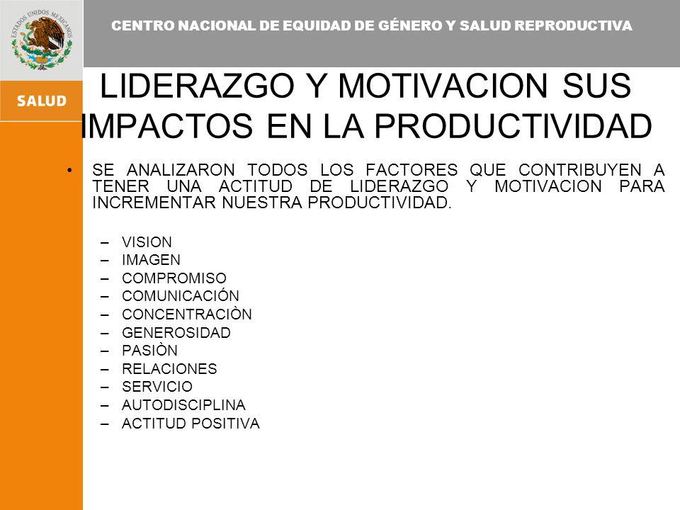 LIDERAZGO Y MOTIVACION SUS IMPACTOS EN LA PRODUCTIVIDAD