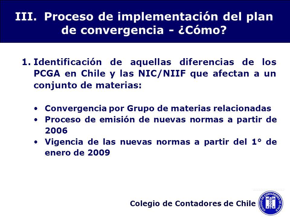 III. Proceso de implementación del plan de convergencia - ¿Cómo