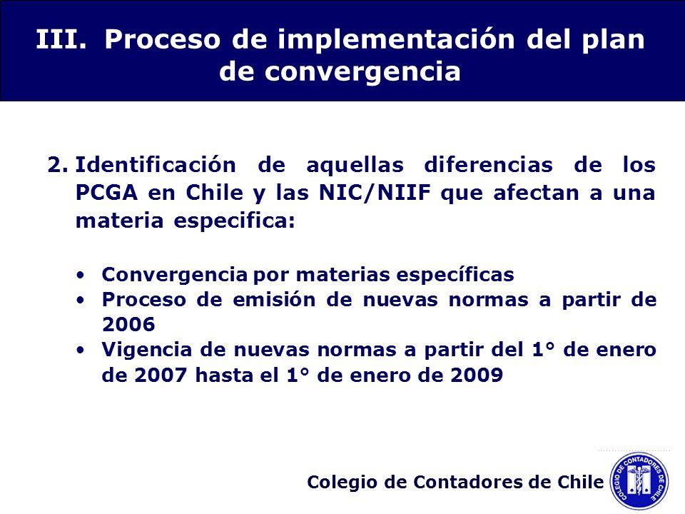III. Proceso de implementación del plan de convergencia