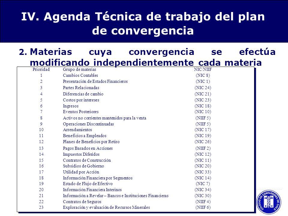 IV. Agenda Técnica de trabajo del plan de convergencia