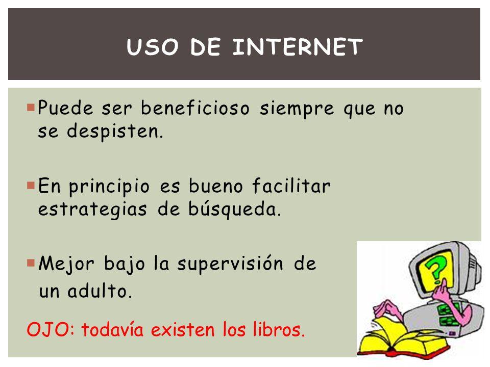 USO DE INTERNET Puede ser beneficioso siempre que no se despisten.