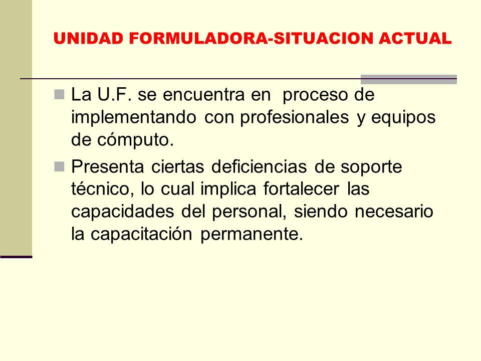 UNIDAD FORMULADORA-SITUACION ACTUAL