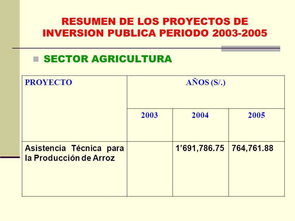 RESUMEN DE LOS PROYECTOS DE INVERSION PUBLICA PERIODO 2003-2005