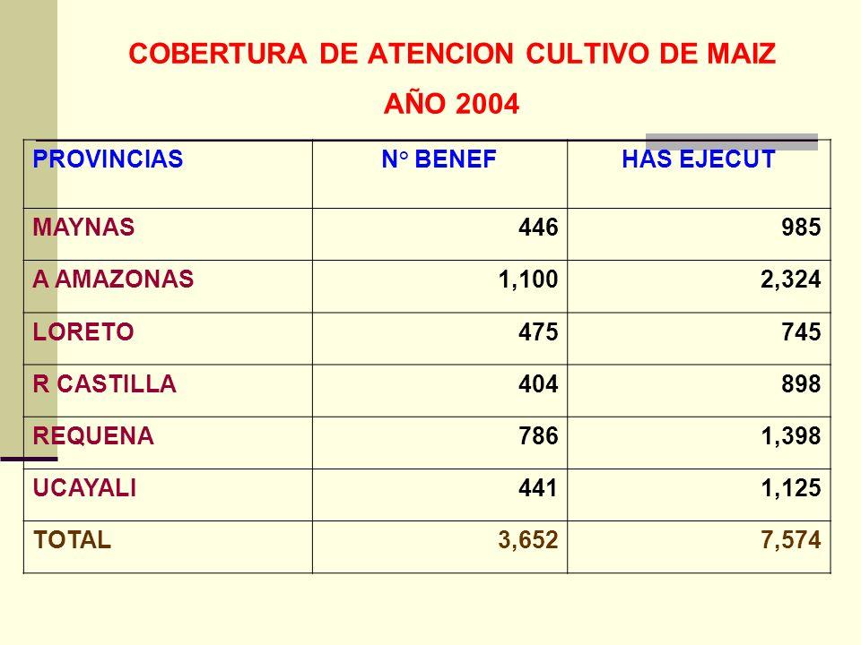 COBERTURA DE ATENCION CULTIVO DE MAIZ AÑO 2004