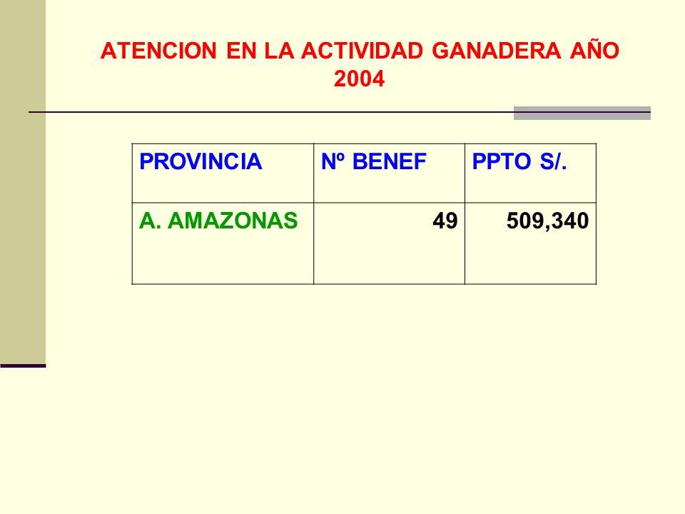 ATENCION EN LA ACTIVIDAD GANADERA AÑO 2004
