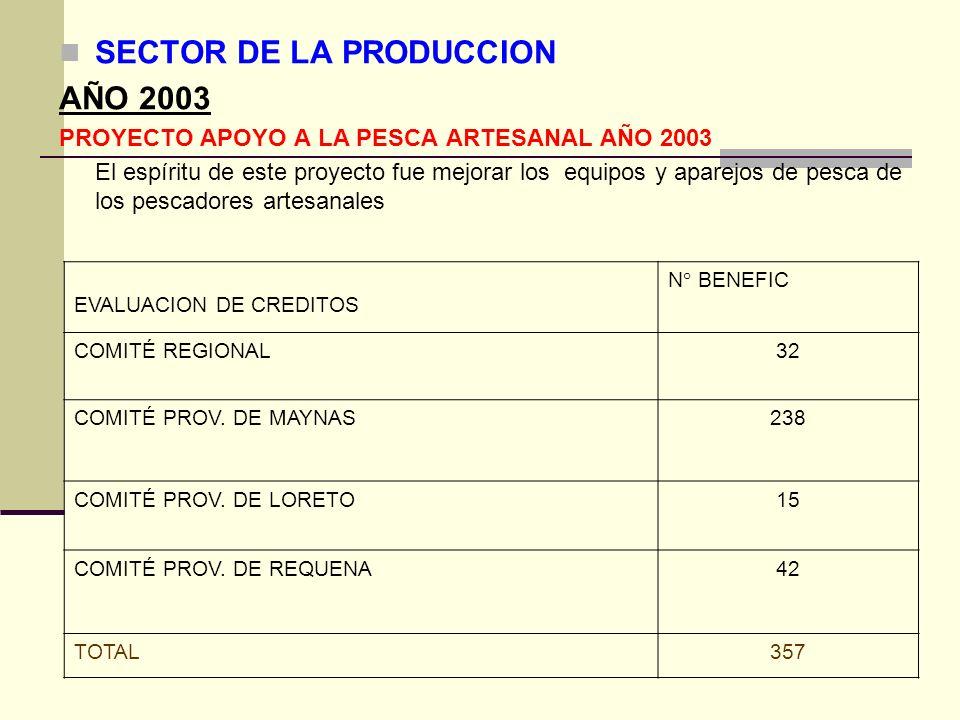 SECTOR DE LA PRODUCCION AÑO 2003
