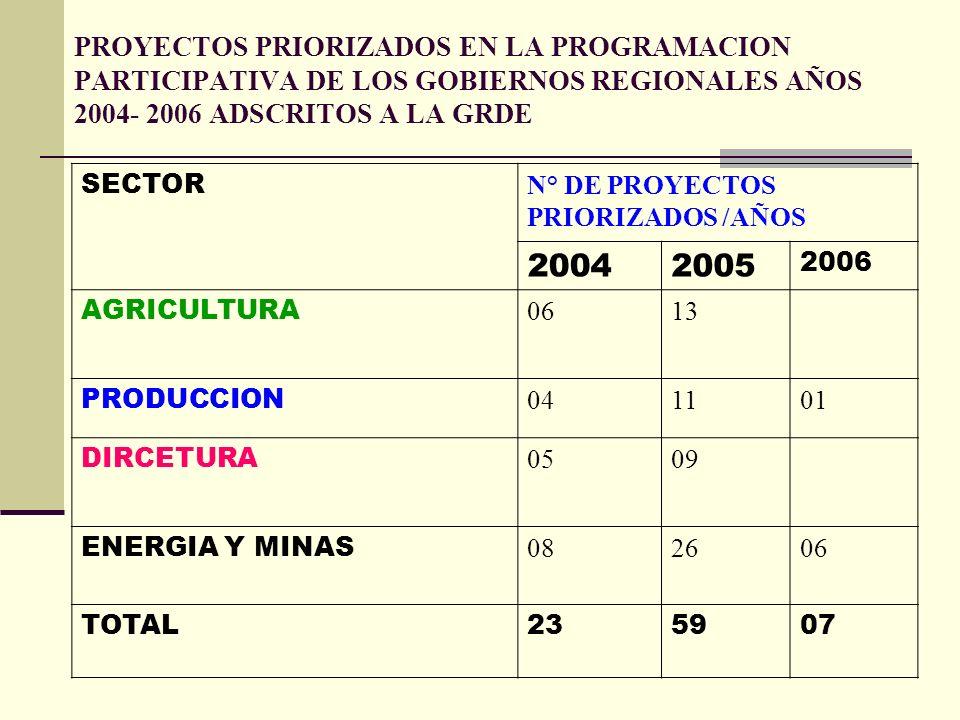 PROYECTOS PRIORIZADOS EN LA PROGRAMACION PARTICIPATIVA DE LOS GOBIERNOS REGIONALES AÑOS 2004- 2006 ADSCRITOS A LA GRDE