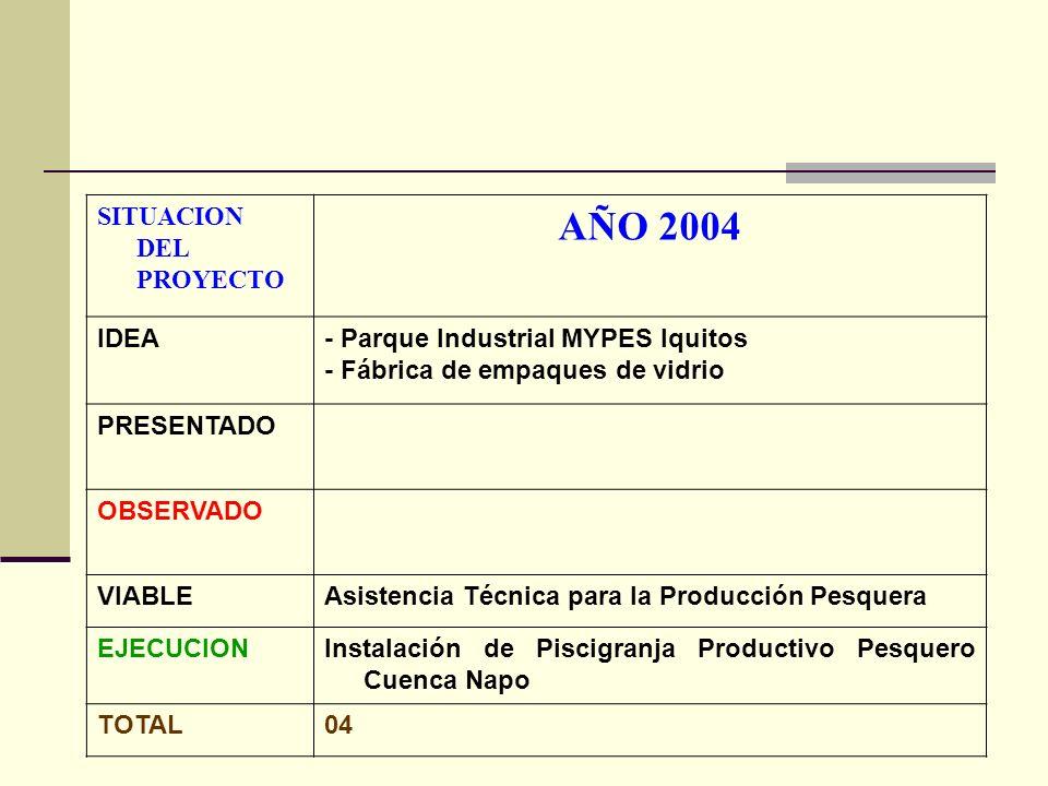 AÑO 2004 SITUACION DEL PROYECTO IDEA - Parque Industrial MYPES Iquitos