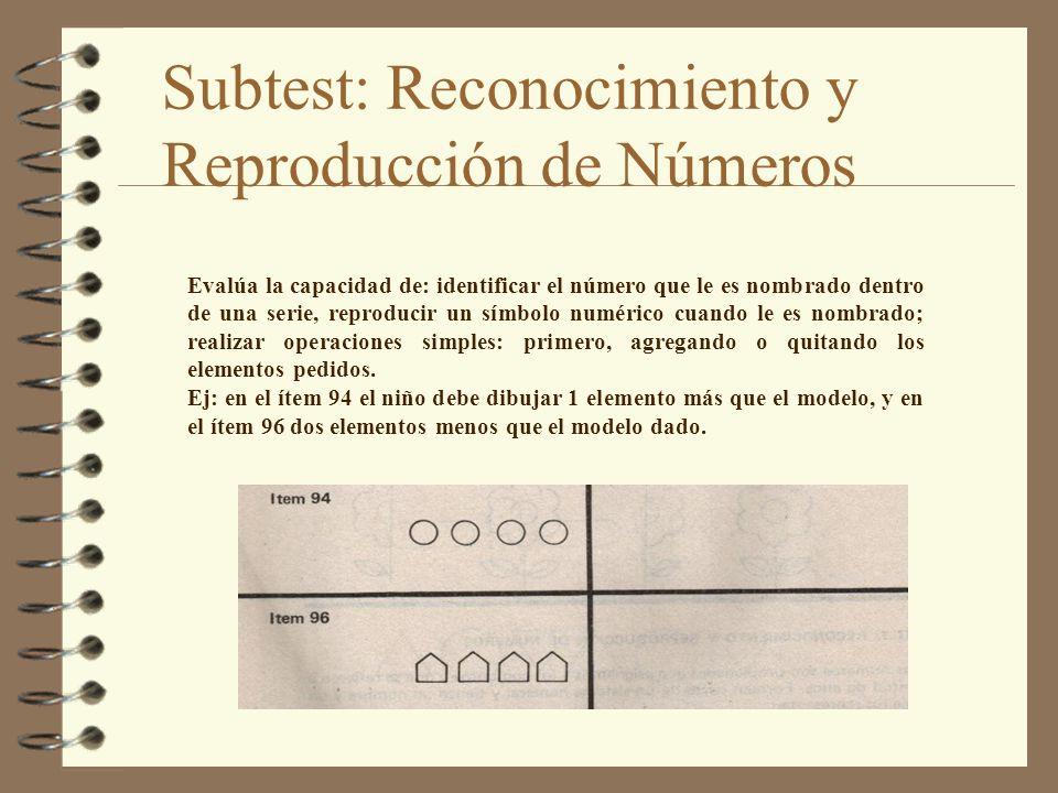 Subtest: Reconocimiento y Reproducción de Números