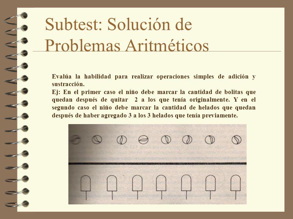 Subtest: Solución de Problemas Aritméticos