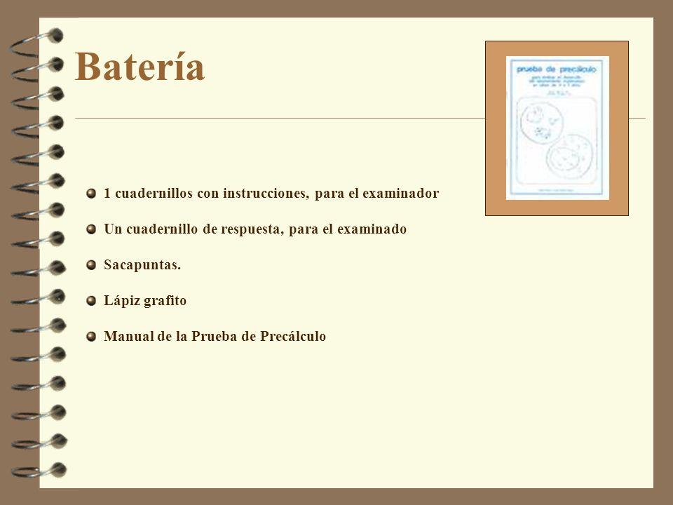 Batería 1 cuadernillos con instrucciones, para el examinador