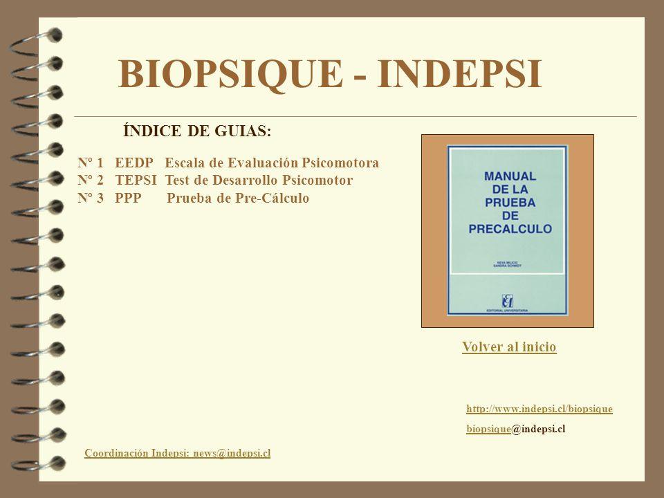 BIOPSIQUE - INDEPSI ÍNDICE DE GUIAS: