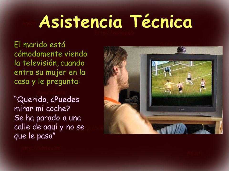 Asistencia Técnica El marido está cómodamente viendo la televisión, cuando entra su mujer en la casa y le pregunta: