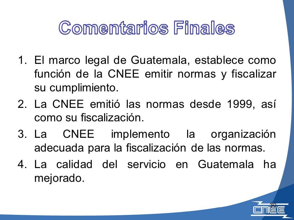 Comentarios Finales El marco legal de Guatemala, establece como función de la CNEE emitir normas y fiscalizar su cumplimiento.