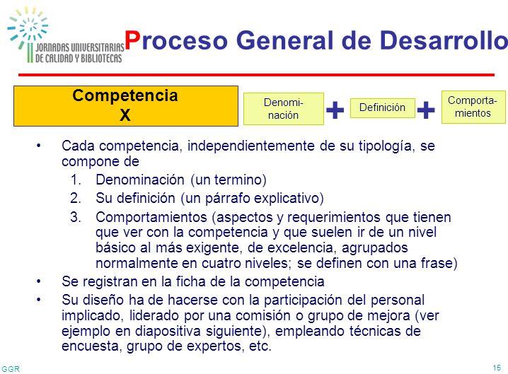 + + Proceso General de Desarrollo Competencia X