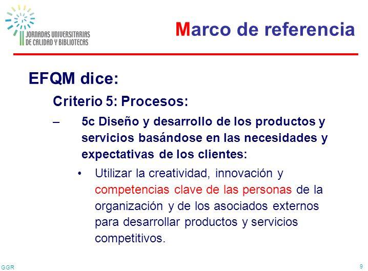 Marco de referencia EFQM dice: Criterio 5: Procesos: