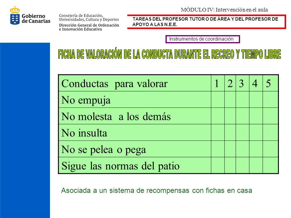 FICHA DE VALORACIÓN DE LA CONDUCTA DURANTE EL RECREO Y TIEMPO LIBRE