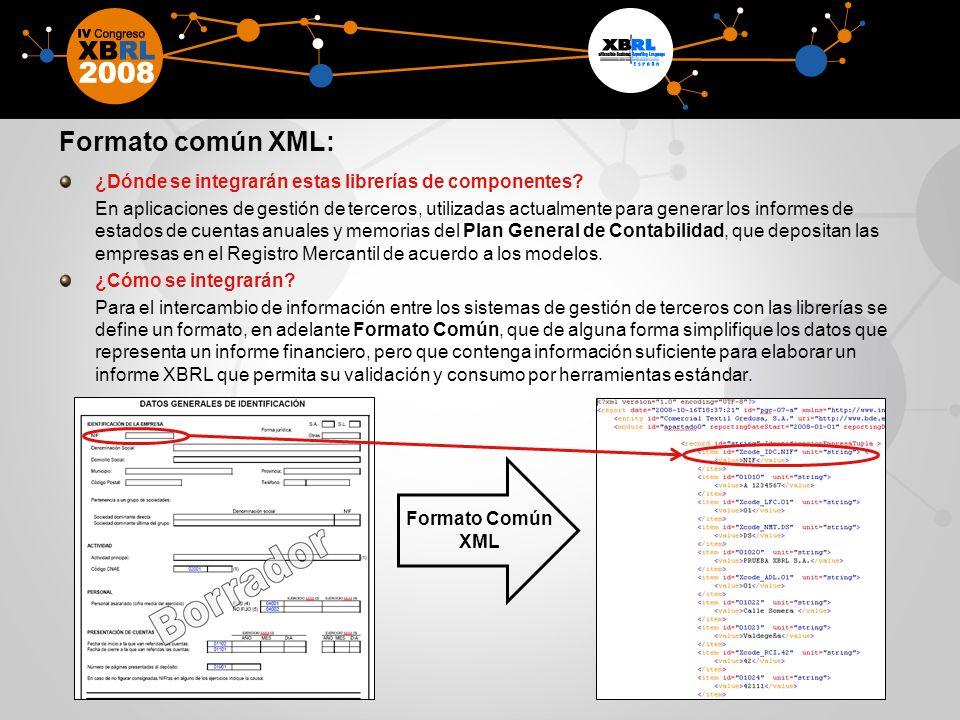 Formato común XML: ¿Dónde se integrarán estas librerías de componentes
