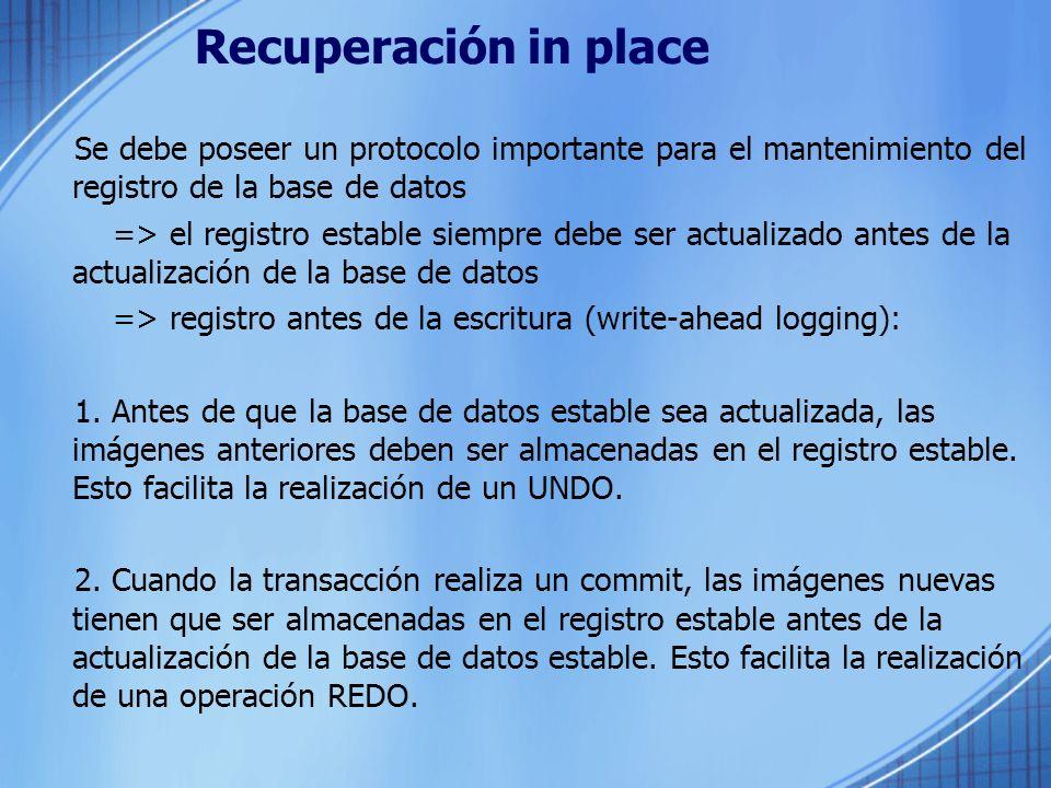 Recuperación in place Se debe poseer un protocolo importante para el mantenimiento del registro de la base de datos.