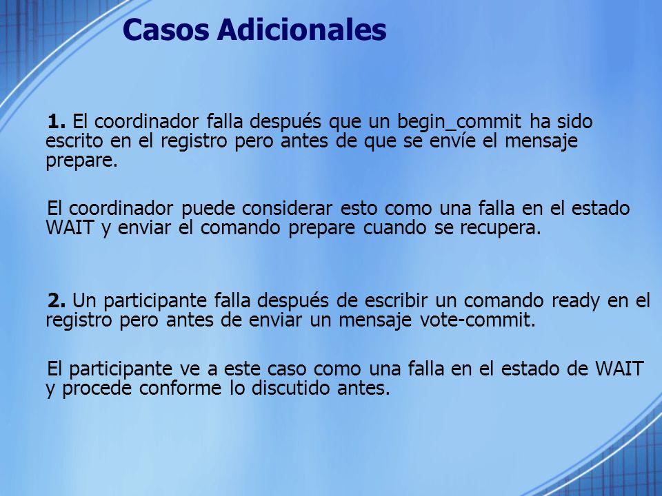 Casos Adicionales 1. El coordinador falla después que un begin_commit ha sido escrito en el registro pero antes de que se envíe el mensaje prepare.